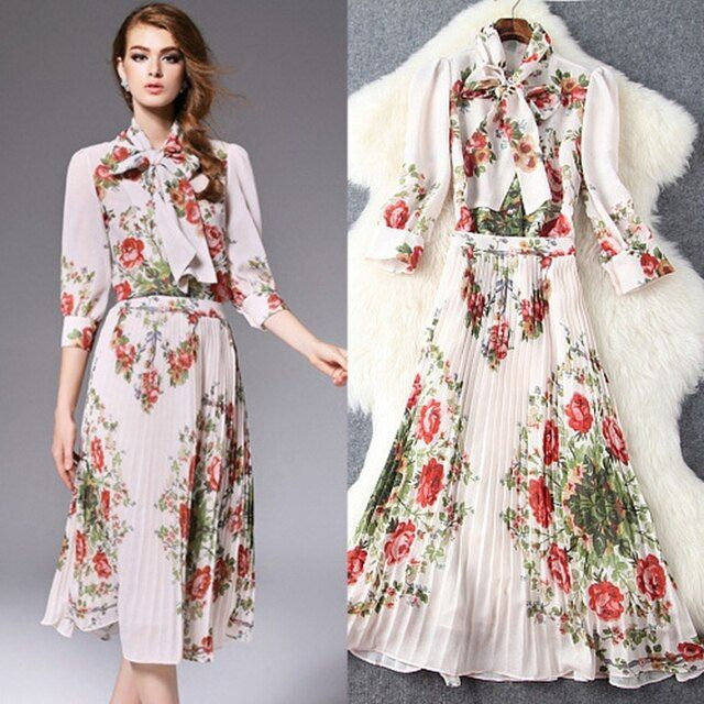 2016 autumn women sets new lacing collar pleated chiffon shirt and printing big skirt suit T5717