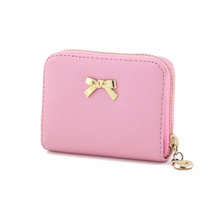Women Wallets 2019 Bowknot Zipper Coin Purse Wearable Short Wallet Handbag Female Wallet Women Clutch Purses Carteira Feminina