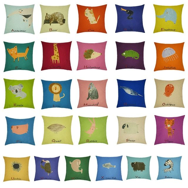 26 English Letters Pattern Animal Pillow Covers Pillow Case Comfortable Cartoon Cotton Linen For Home Accessories
