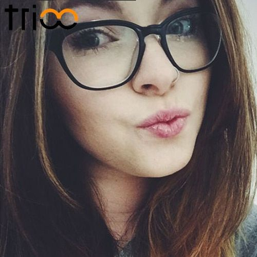 TRIOO Clear Lens Glasses Frame Women Fashion Black Optical Eyewear Female Hight Quality Vintage Glasseswear Accessories