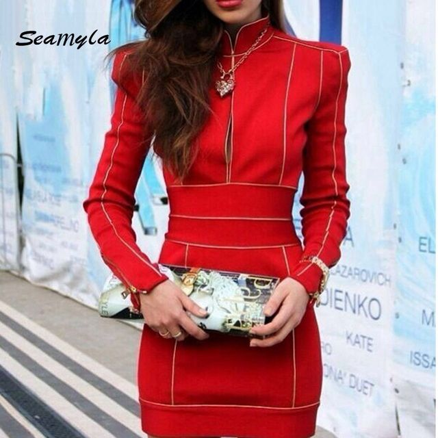 new women bodycon high neck summer dress sexy long sleeve bandage dresses front  zipper celebrity party red dress dropshipping