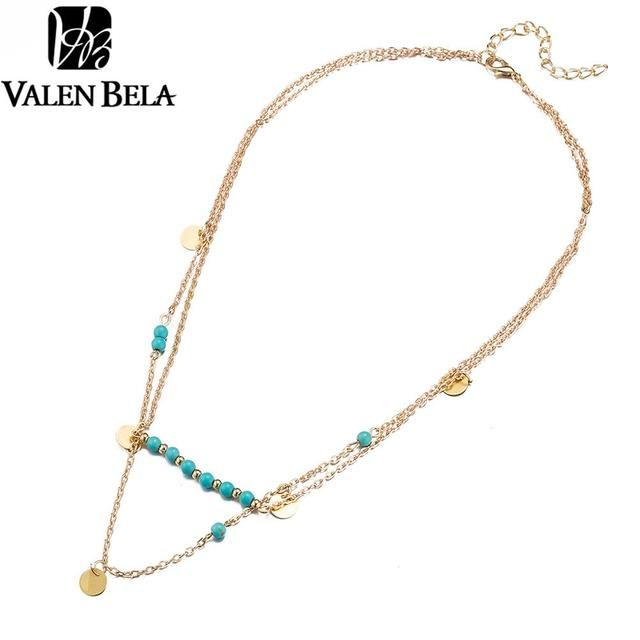 VALEN BELA 2017 New Simple Chain Gold/Silver Plated Pendant Multi Layer Necklace Fine Jewelry For Women XL1095