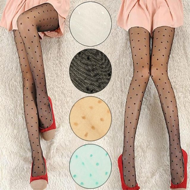 Hot Women Pantyhose Fashion Female Transparent Tights Sexy Polka Dot Pantyhose Hosiery Charming Stockings