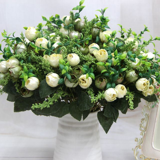 12 Head Rose Tea Bud Bouquet Pearl Flower Artificial Silk Flowers Party Home Decoration Flores Artificiales