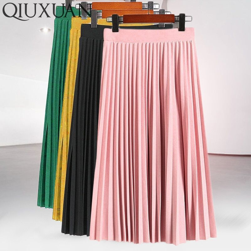 Women Fashion High Waist Pleated Solid Color Mid-calf Lengt Skirt All-match chiffon Clothing Lady Casual Stretchy Thicken Skirts