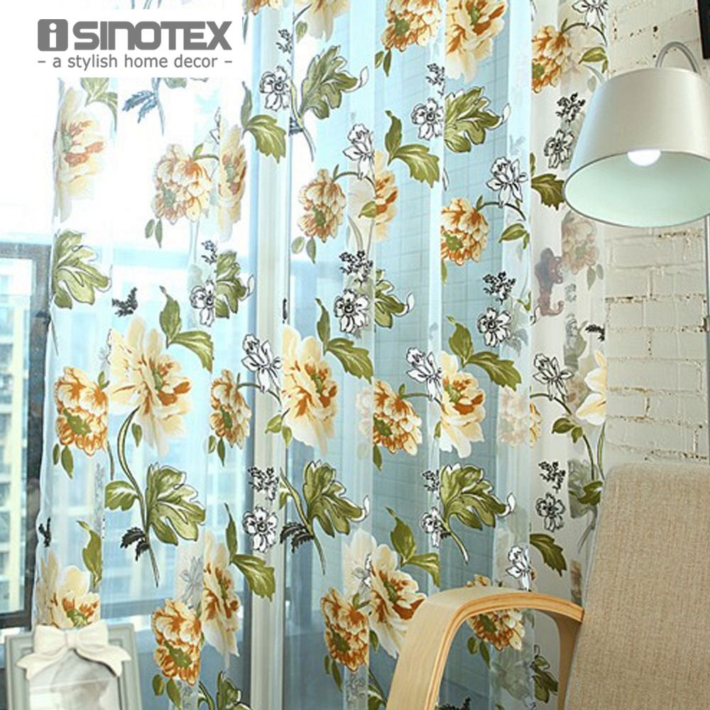 1PCS/Lot iSINOTEX Window Curtain Flower Printed Transparent Sheer Screening Burnout Living Room Tulle Voile Fabric