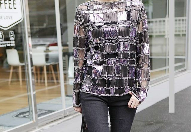 women square Sequined Bottoming shirt/women chiffon shirts/lady beads blouses/beading jacket/Heavy Beaded  diamond Sequin  shirt