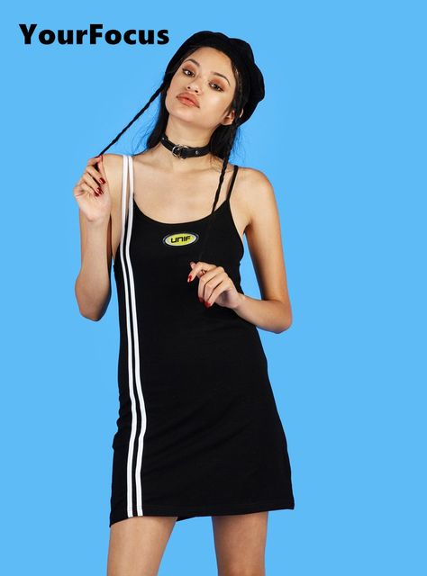 2017 summer old school vintage ins hot casual dress black and white spaghetti strap unif logo dress cotton dress
