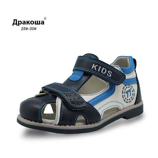 Apakowa New Kids summer shoes closed toe toddler boys sandals Arch Support Orthopedic sport pu leather Little boys sandals shoes