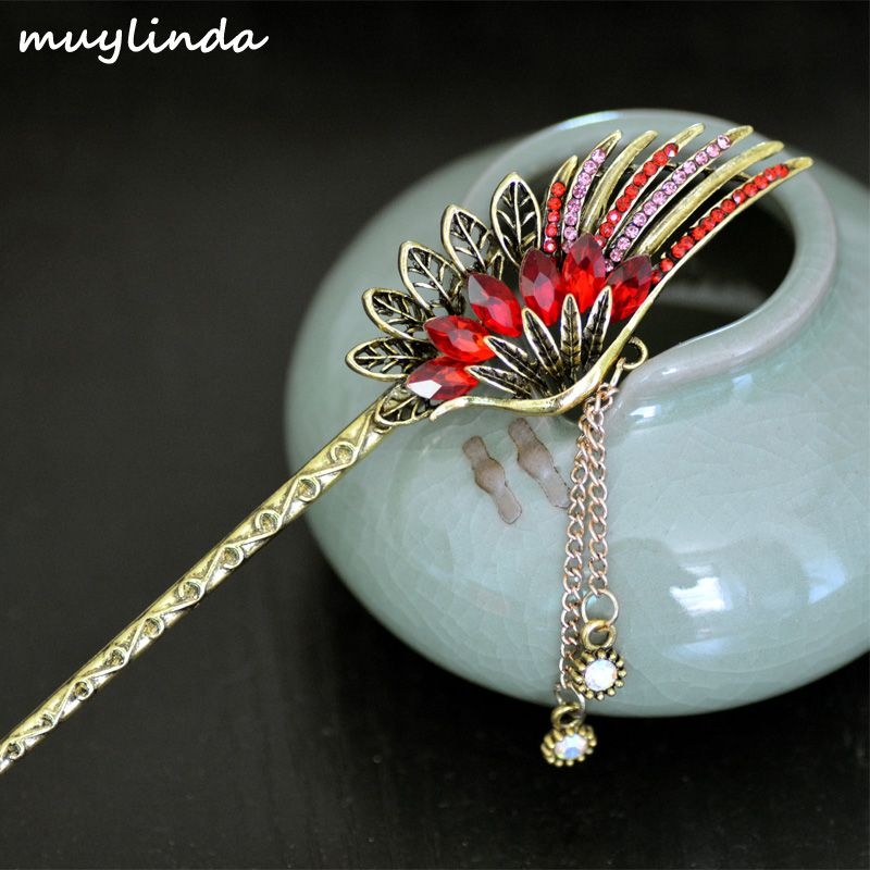 muylinda Feather Hair Stick Accessories Vintage Crystal Hair Sticks Hair Clip Vinatge Women Bronze Hair Jewelry Hairpins
