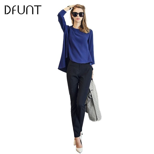 DFUNT Solid Color Elegant Suits For Women Irregular Chiffon Shirt +Slim Casual Long Pants+Scarf Three-piece Sets Plus Size S-XL