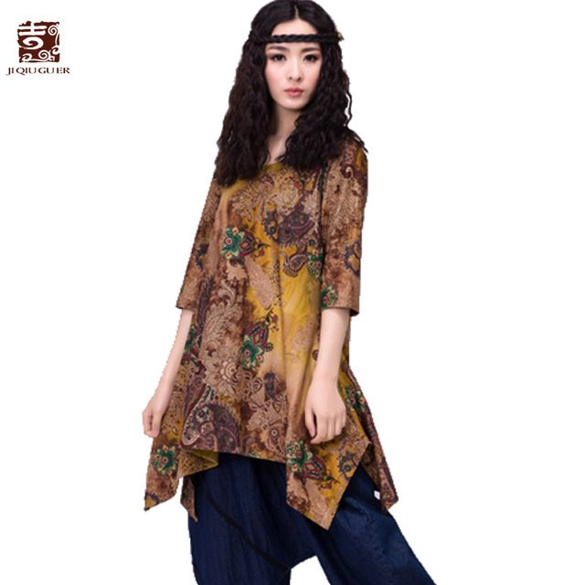 Jiqiuguer Women boho Tops Vintage floral Print Blouses Shirts Plus Size O-Neck Asymmetrical Loose Casual Summer Tops G133Y002