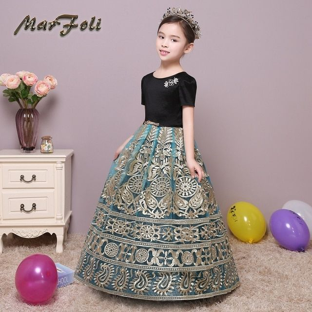 Girl Dress Party Summer Style Dresses Short Sleeve Flowers Embroidery Child Kids Clothes With Waistband Flower Girl Dress FG010