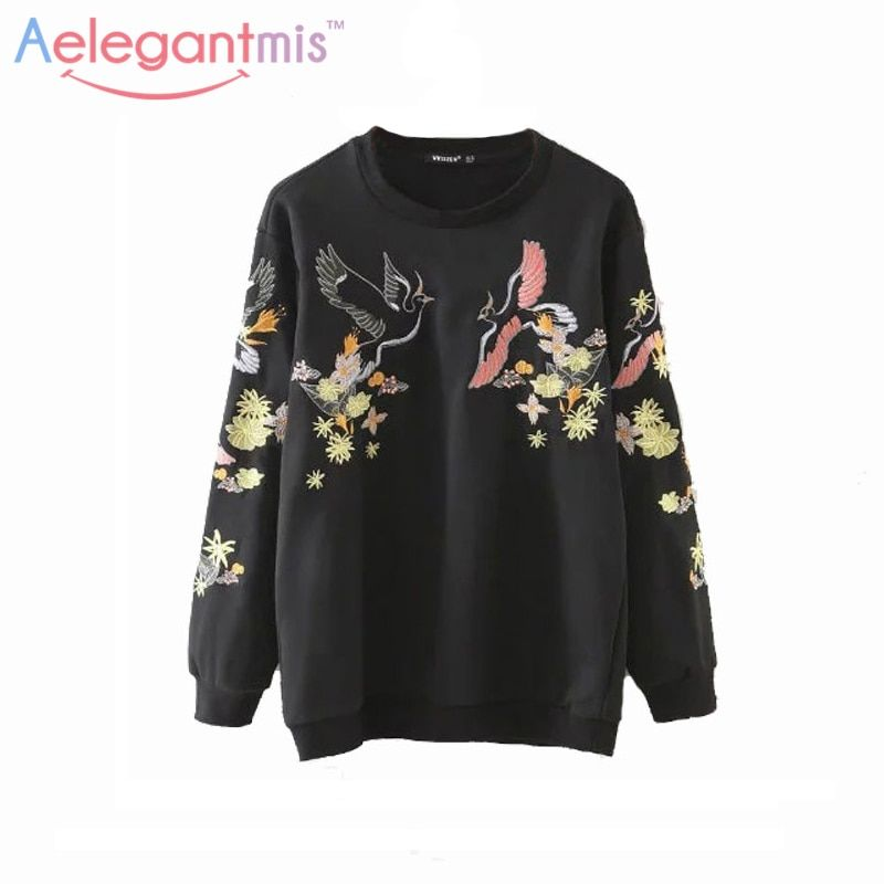 2019 Autumn Casual Floral Embroidery Sweatshirts Women Long Sleeve Pullover Fall Black Embroidered Hoodies Female Sweatshirt