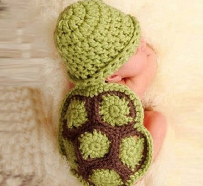 Children Tortoise Handmade Crochet Newborn Photography Props Baby Knitted Hat Caps Beanies Animal Costumes Outfit Sets
