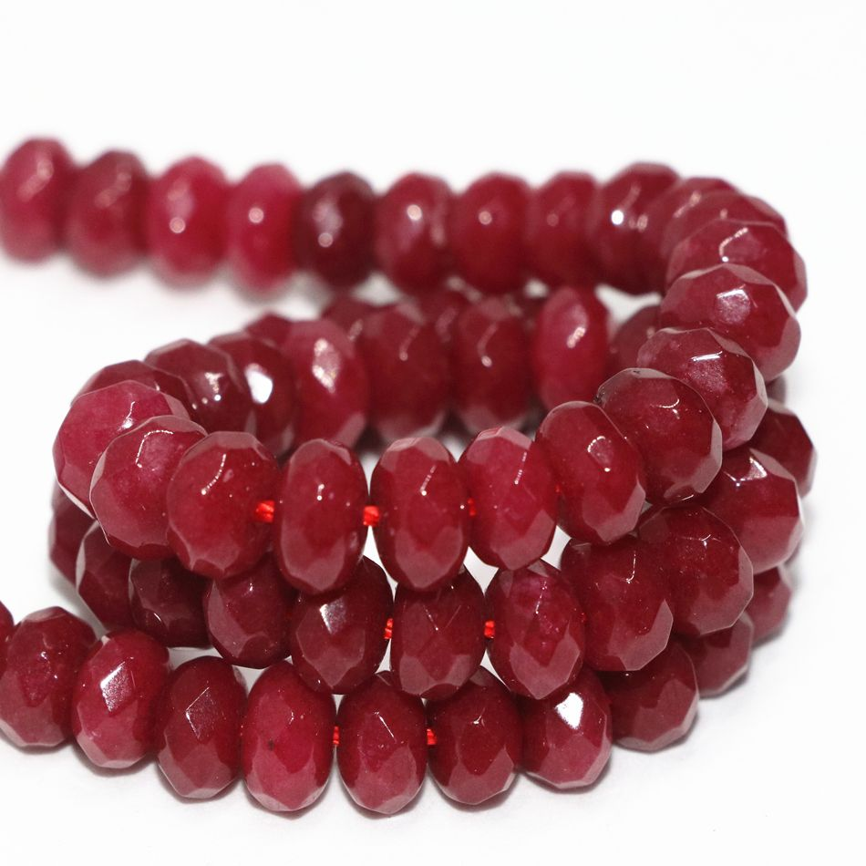 Special red natural stone chalcedony jades 5x8mm charms faceted rondelle abacus loose beads diy jewelry making 15inch MY4326