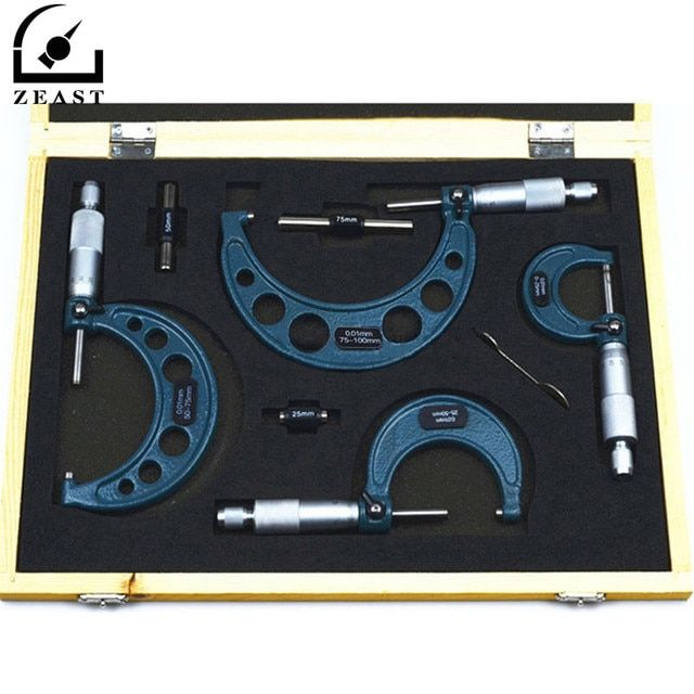 4Pcs Outside Micrometer Set Ratchet Stop Type 0-100mm (0-25mm/25-50mm/50-75mm/75-100mm) Metal Gauge Standards Caliper Tools