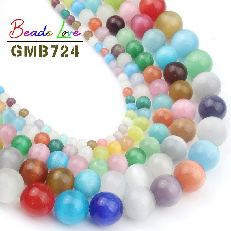 Pick Size 4.6.8.10 12MM Smooth Multicolor Cats Eye Beads Natural Stone Spacer Loose beads for Jewelry Making Mexican Opal 15''