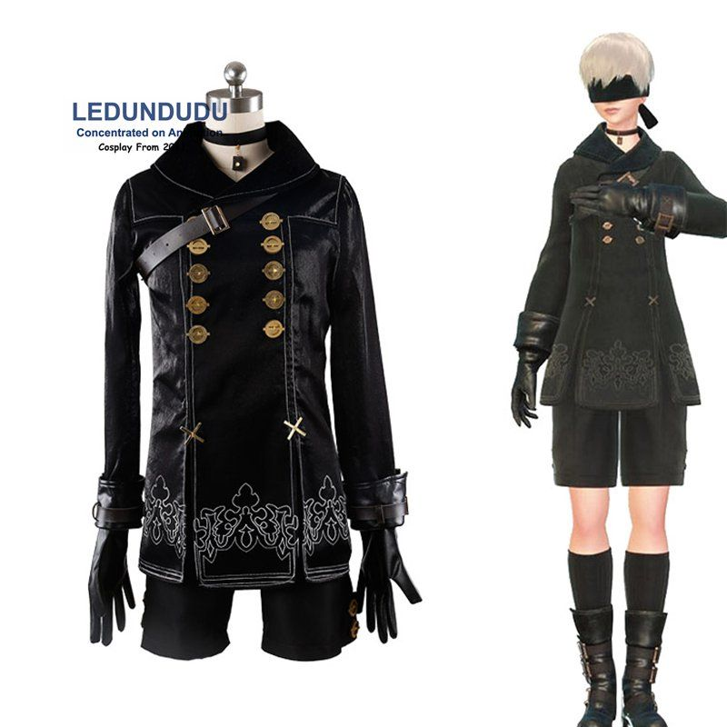 Hot Games NieR Automata 9S Cosplay Costumes Men Fancy Party Outfits Coat YoRHa No. 9 Type S Full Set for Halloween XS to XXL