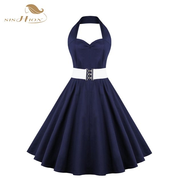 SISHION Women Dark Blue Rockabilly Dress Vintage Evening Party Sexy Halter Elegant Retro 50s Tunic Swing Dresses Vestidos VD0363