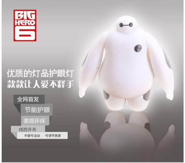 Dimmable Big Hero 6 Baymax table lamp hand rotating plug Nightlight cartoon white bedroom bedside Nightlight