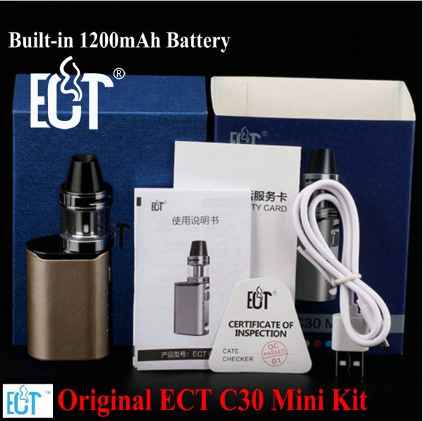 ECT C30 Mini Kit Top filling Kenjoy Met 2ml Atomizer Built-in1200mAh Battery vaporizer Box Mod Electronic Cigarette mini box mod