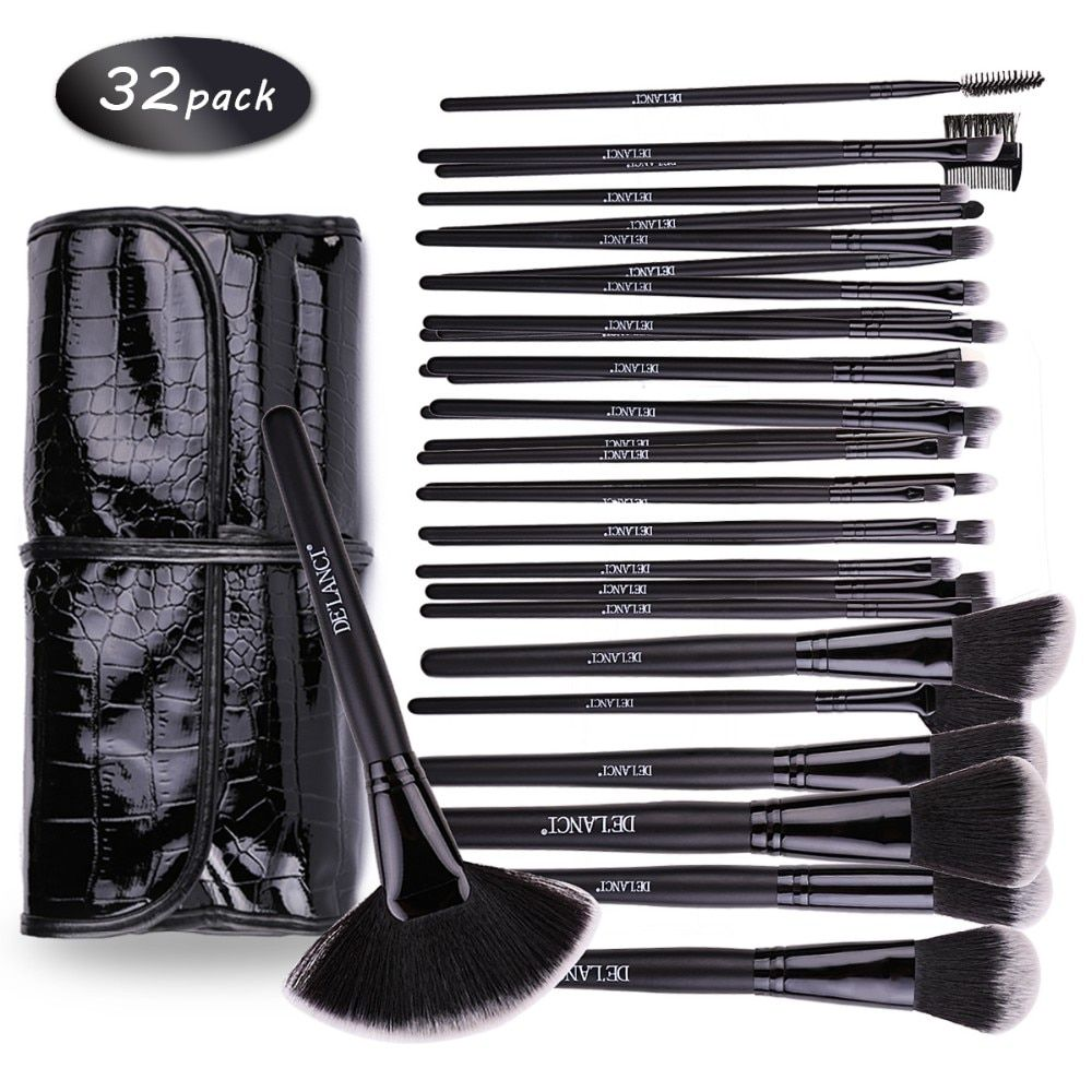 DE'LANCI Professional Makeup Brushes 32 pcs Cosmetic Kit Eyebrow Blush Foundation Powder Make up Brush Set With Black Case