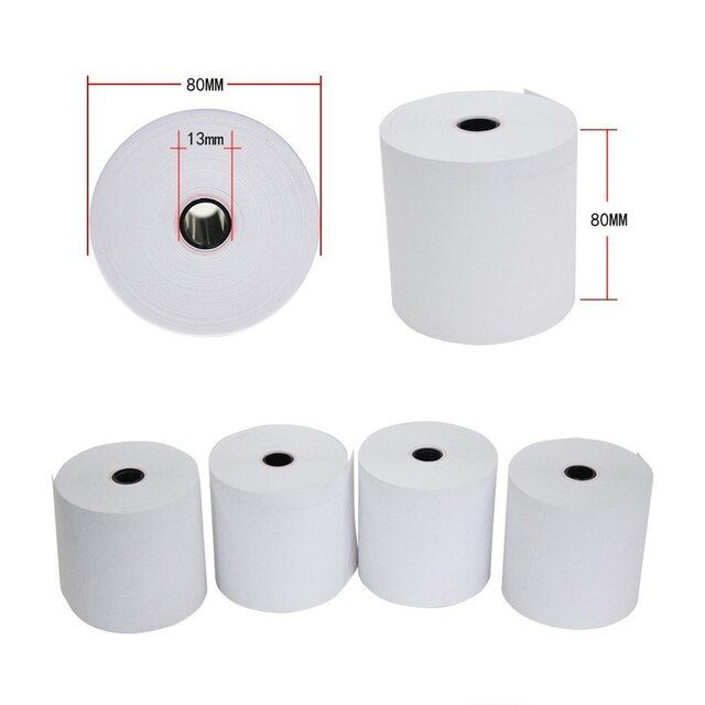 Hight quality 80mm*80mm(50 rolls/box) Thermal receipt paper with 13mm small core use for supermarket , restaurant cash register