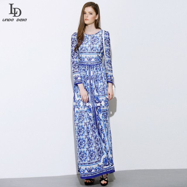 High Quality New Fashion 2015 Designer Runway Maxi Dress Women's Long Sleeve Blue and White Printed Celebrity Party Long Dress