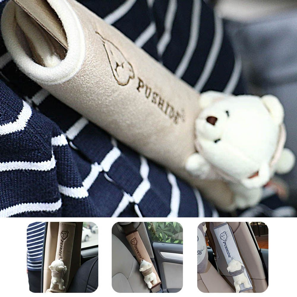 Pair Kawai Bear Children Seat Belt Cover Shoulder Pad Car Safety Belt Soft Strap Protection Ceinture High Quality Car-Covers