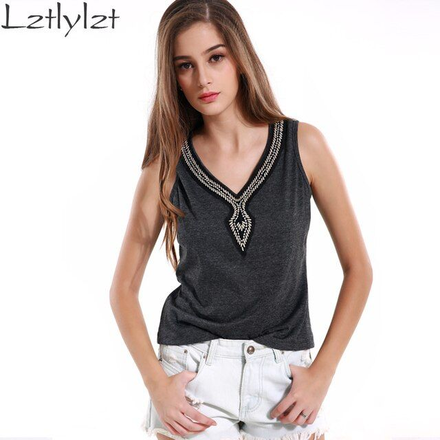 lztlylzt Tank Top Dark Gray Rivet V-neck Fashion Crochet Tank Top Women Sexy Sleeveless Camisole Vest Cami Knitted Top Clothes