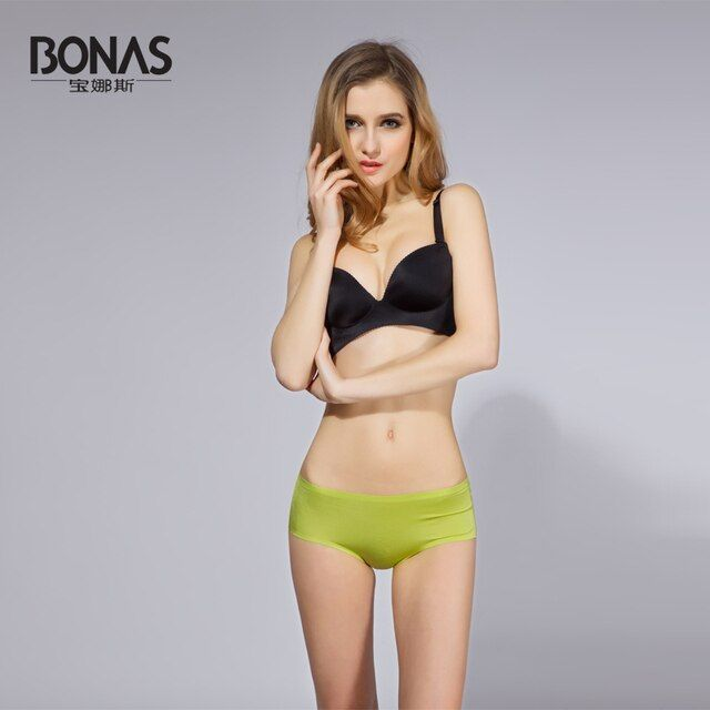 Seamless Panties Intimates Brand  BONAS Woman Panties Underwear Briefs Solid Color Underpants Women Crotchless Ladies Panties