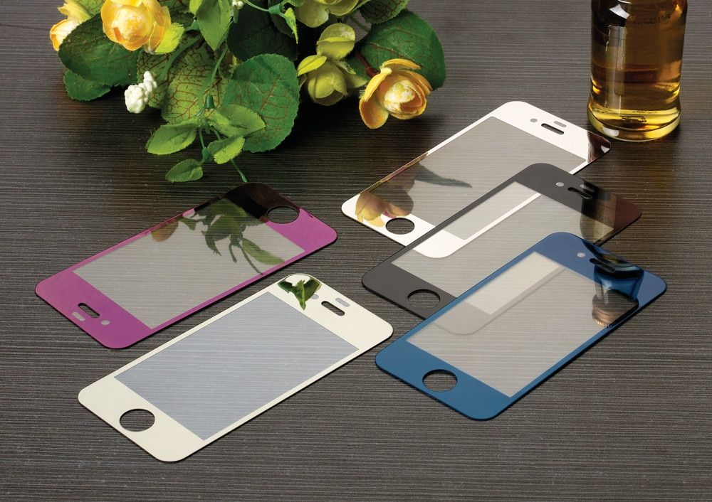 1/pcs Only Front Premium Plating Mirror Colored Tempered Glass for iphone 4 4s 5 5s 5C 6 6s 7 Full Screen Protector film
