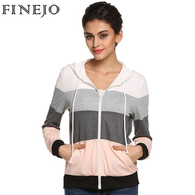 FINEJO Women Casual Hoodies Sweatshirts Zipper Top Ropa Mujer Long Sleeve Splicing Pockets Hooded Hoody Female Loose Coat 3XL
