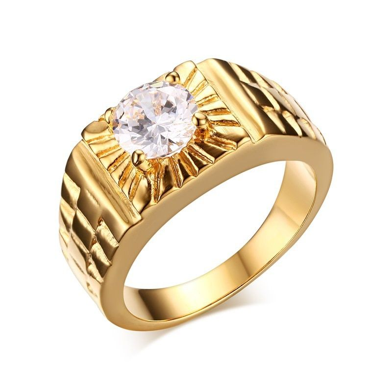 Gold-color wedding rings big Cubic Zircon engagement rings for men vintage fashion jewelry anel masculino aliancas de casamento