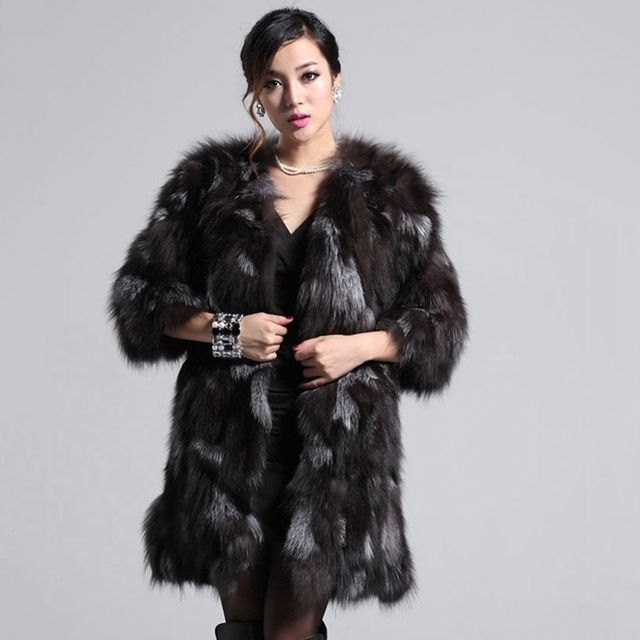 women 100% natural silver female real fox fur coat  jacket winter warm middle long femme outwear fur clothing o neck autumn coat