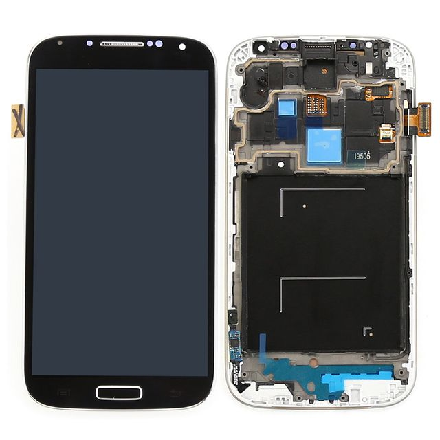 white black blue lcd display touch screen digitizer with frame full assembly replacement parts for samsung galaxy s4 i9505