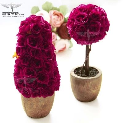 Fashion clay rustic flower pot rose artificial plants artificial flower set small Rose flower tree home decoration wedding gift