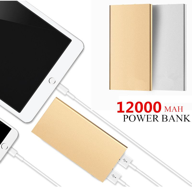 Ultra-thin Mobile Power Bank 10000 mAh metal shell led light USB External Backup Battery Portable universal Phone charger