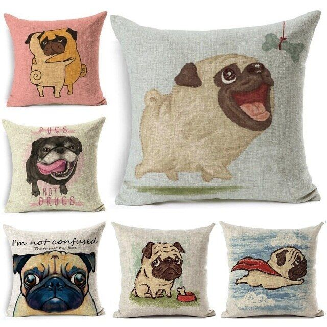 Cushion Cover Pugs Printed Linen Throw Pillow French Bulldog Square Pillow Cover Car Sofa Home Decorative Pillowcase 45*45
