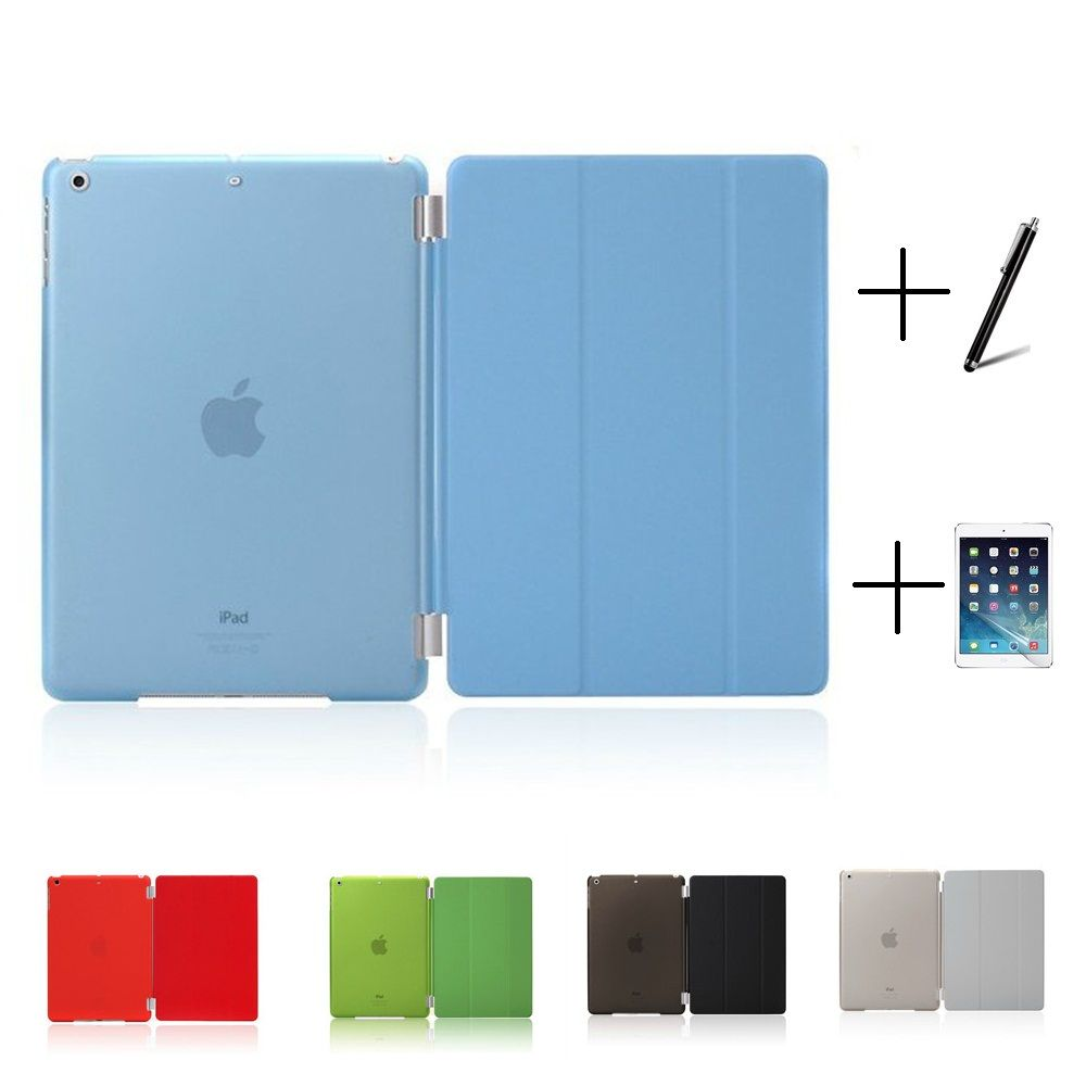 Slim Smart Soft PU Leather + Cover Hard Translucent Plastic Shell Case for iPad Mini 1 2 3 iPad 2 3 4