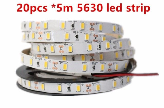 Super Bright 100m/lot DC12V 5M 5630 SMD 300 leds Non-Waterproof Nature/Warm/Cool White Flexible LED Strip Light Freeshipping