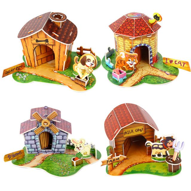 Hot sale kids toys cute cartoon pet house 3d puzzle toys kawaii animal puzzle toys educational toys for children