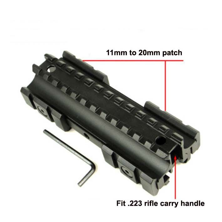 Triple Side Flat Top 11mm/20mm Weaver/Picatinny Rail Carry Handle Mount Fit .223 Rifles ht141