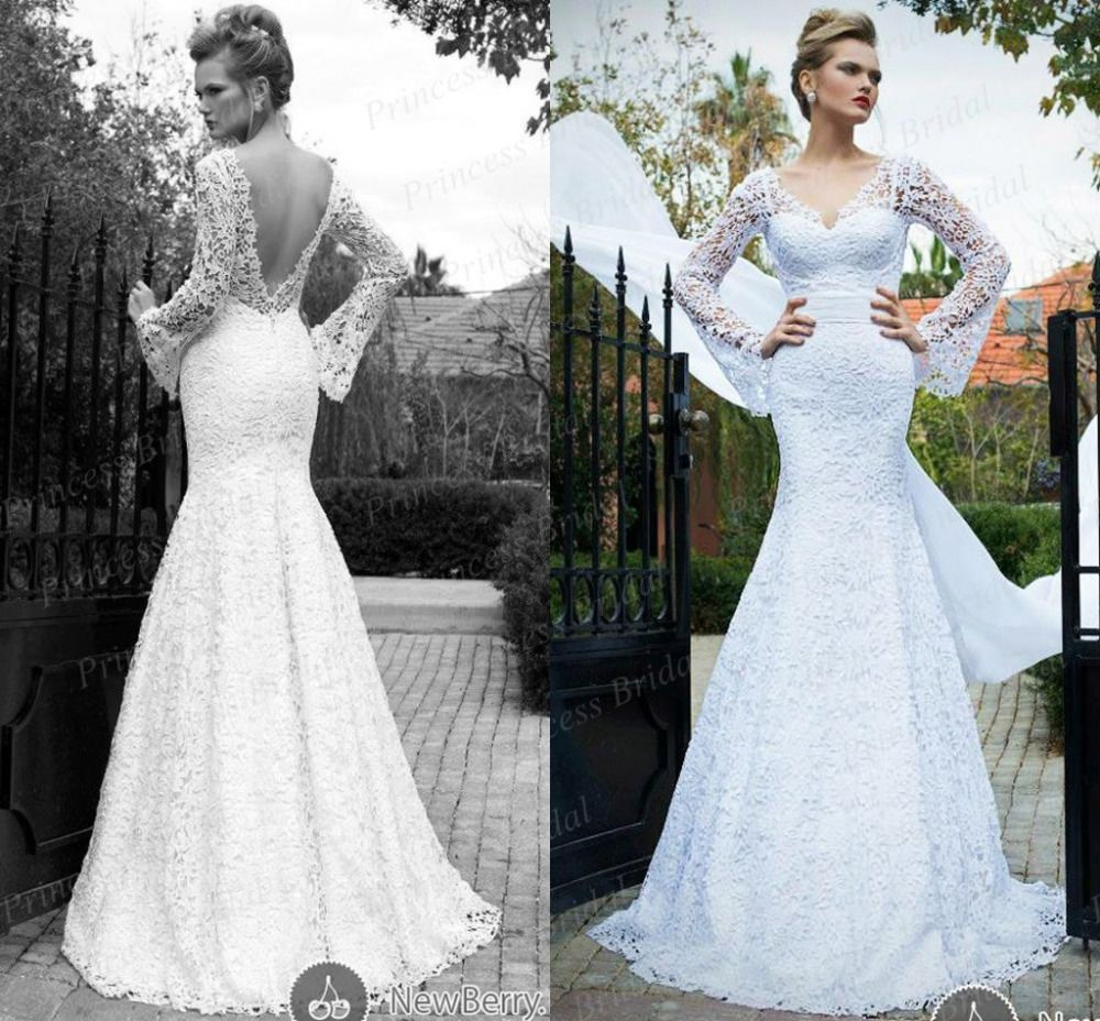 Free Shipping Sexy Low Back Bridal Gown Fishtail V Neck Long Sleeve Sweep Train Lace Kala Yaffa Wedding Dress MF588