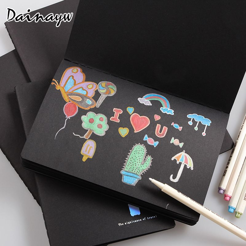 Sketchbook Diary drawing Painting graffiti black paper Sketch book notebook School Supplies