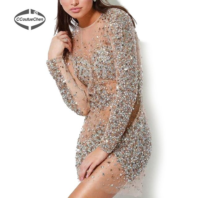 Mini Cocktail Dress CDC-001 Top Quality Sheath Long Sleeves Beaded Sequins Mini Length See Through Crystal Dress Made in Real