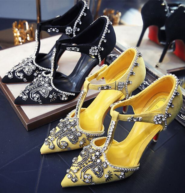 sexy red bottom high heels luxury rhinestone pointed toe women T-type high-heeled shoes female bridesmaid wedding shoes 7.5/10cm