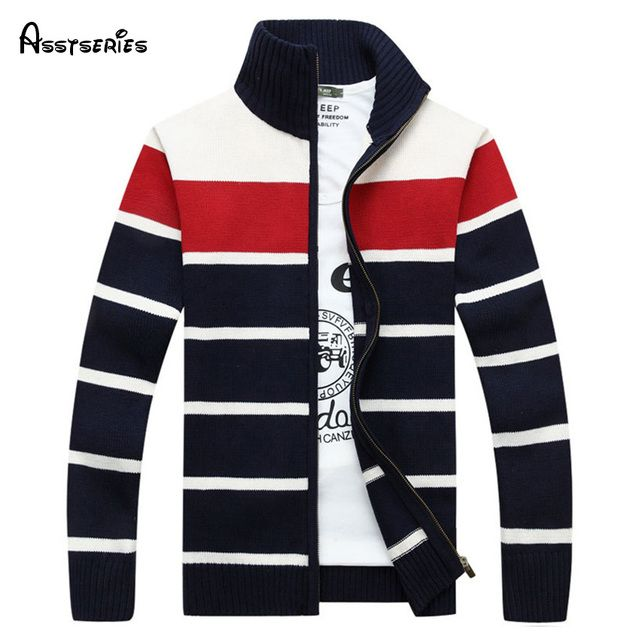 2018 Limited Men's Casual  Knitting Warm Sweater High Quality Brand Cardigans Coat Outerwear stand collar 75