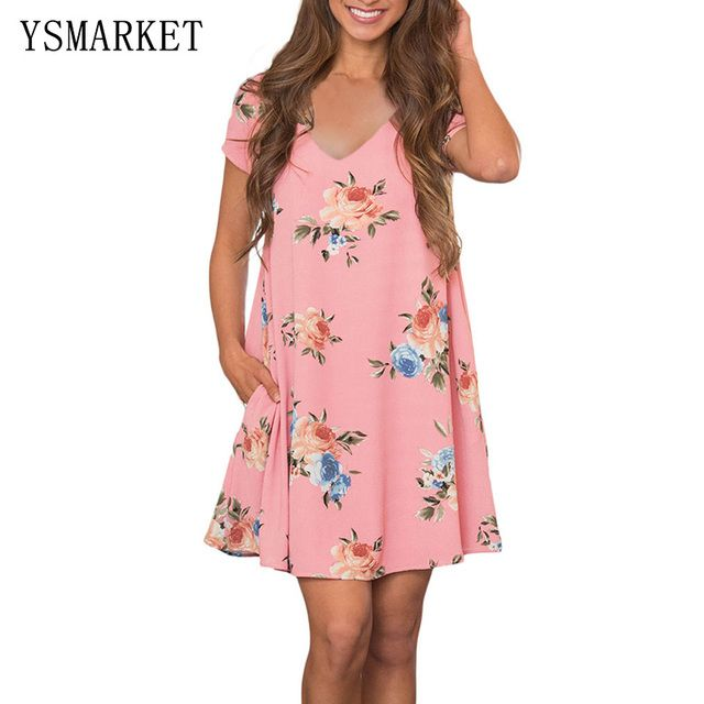Pink Floral Print Sexy Club Mini Dress Women Party Summer Loose Boho Shirt Short Sleeve V Neck Pocket Dresses e220016